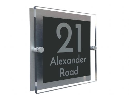 Block Shape - Clear Acrylic House Sign - Anthracite Colour with Silver text in Font  3